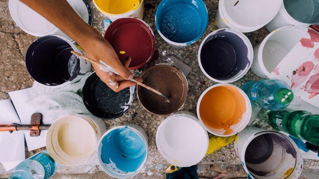 painter, paint cans, brush